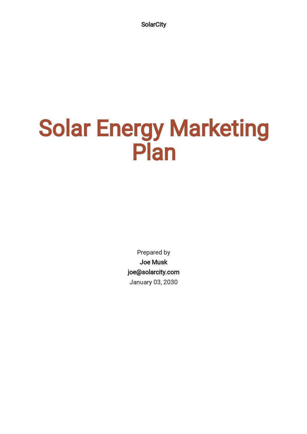 Solar Energy Marketing Plan Template