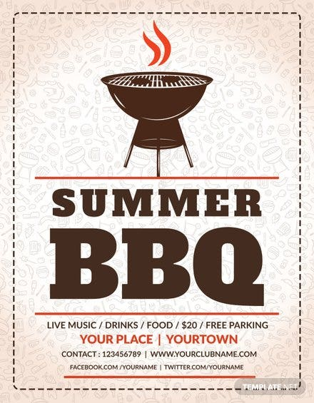 free summer bbq flyer template in adobe photoshop