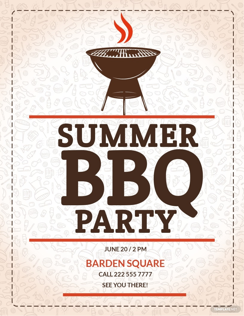 Summer BBQ Flyer Template [Free JPG] - Illustrator, Word, Apple Pages, PSD, Publisher