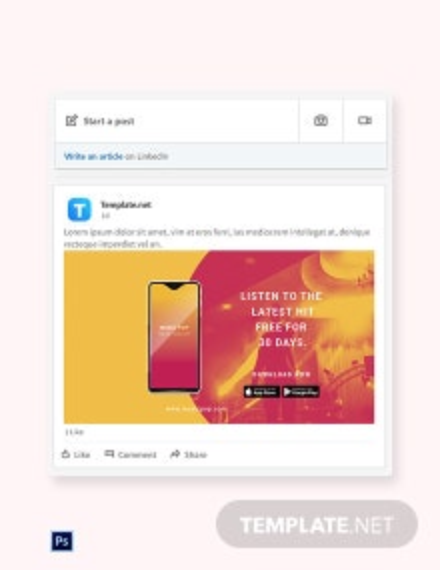 Free Elegant App Promotion Linkedin Post Template
