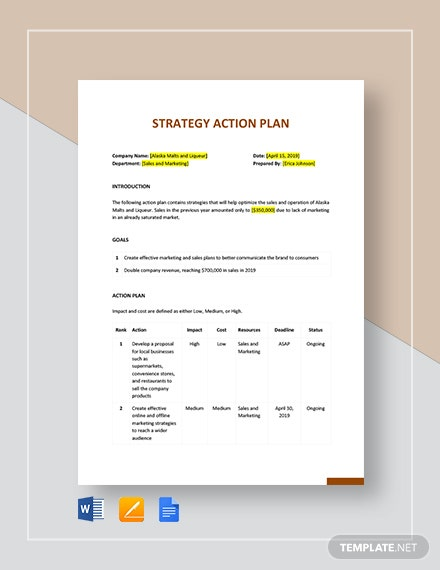 Strategy Action Plan Template