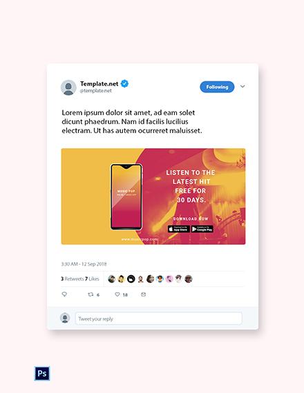 Free Elegant App Promotion Twitter Post Template