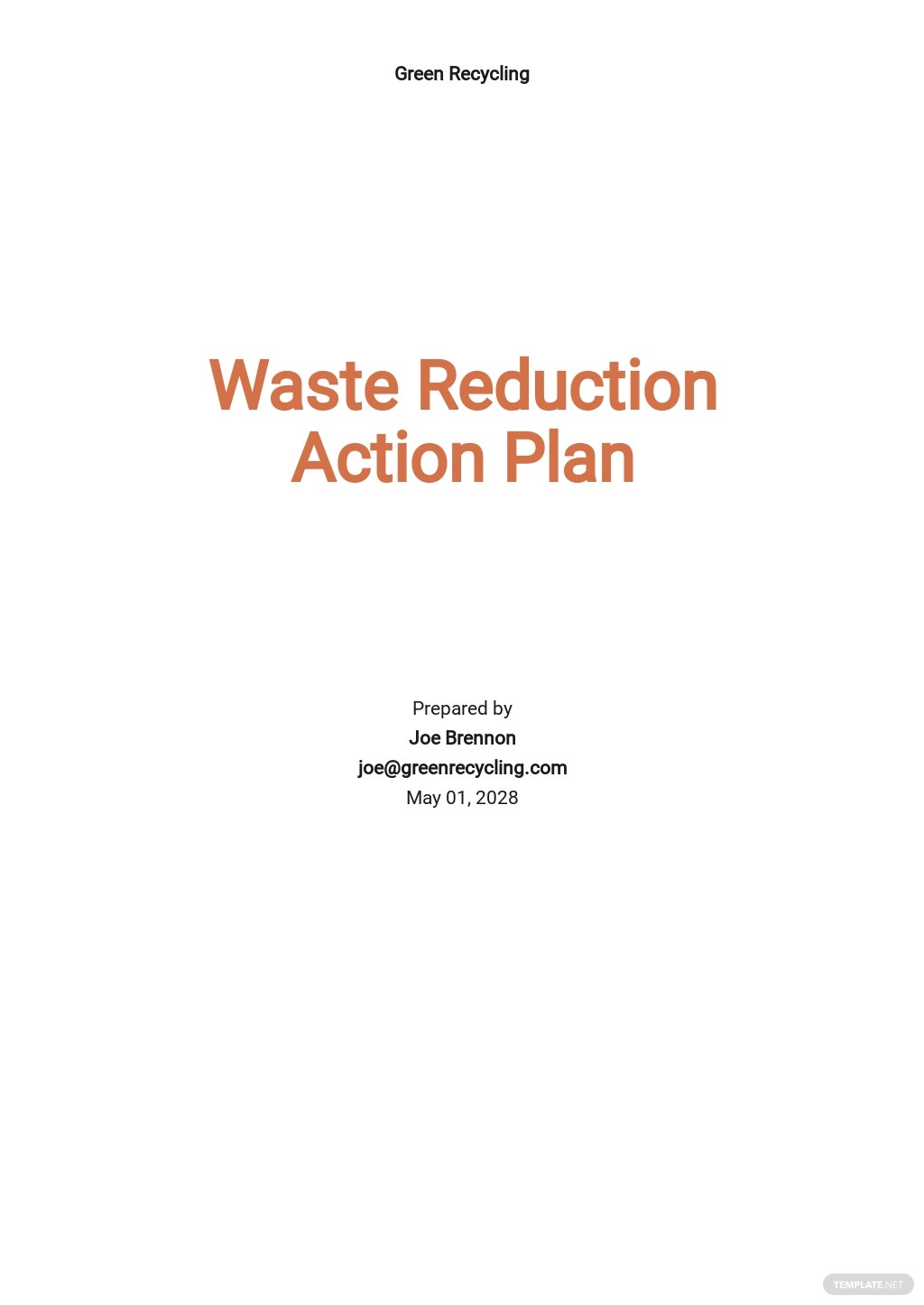 Waste Reduction Action Plan Template