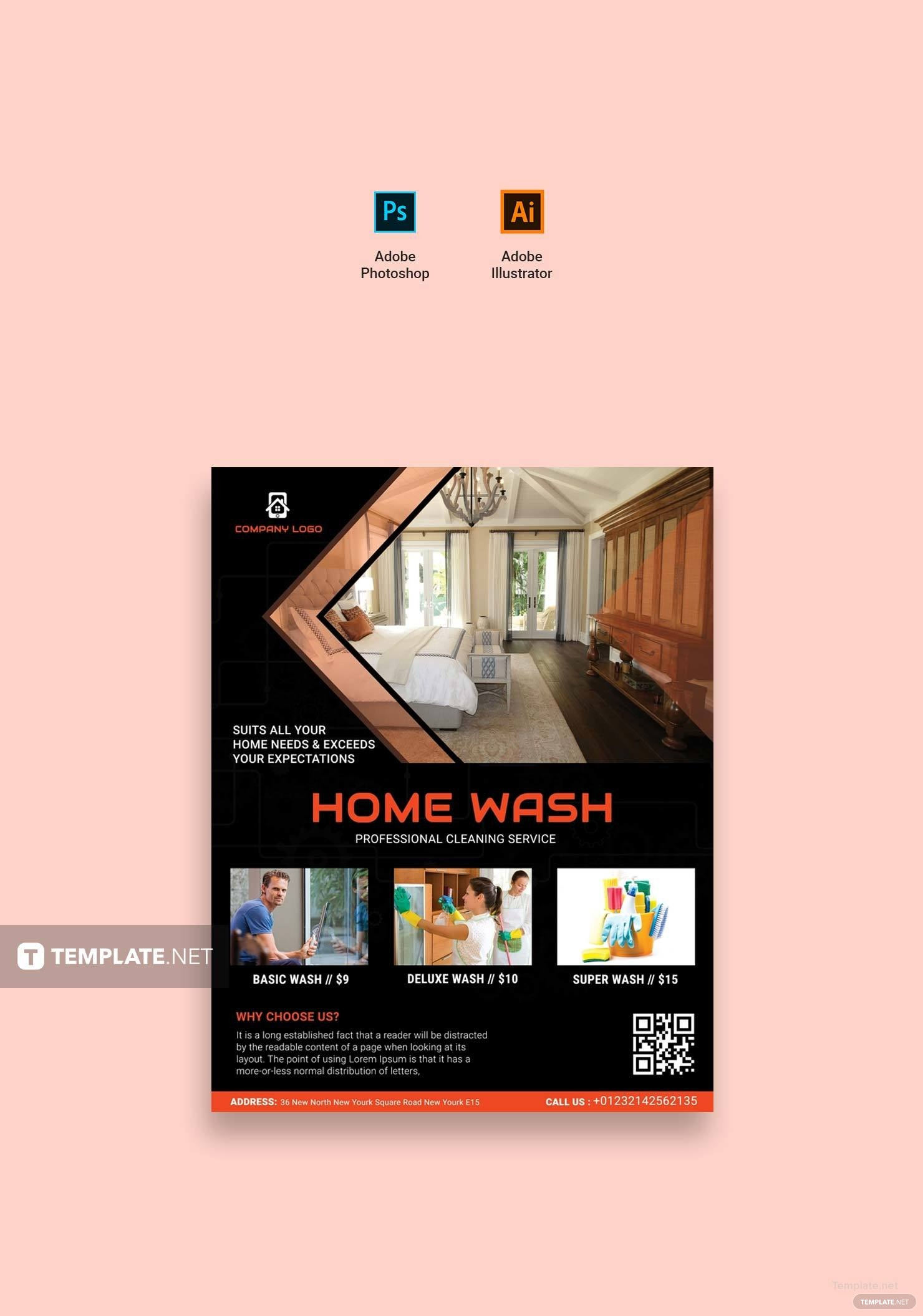 Free Home Cleaning Service Flyer Template In Adobe Photoshop - Adobe illustrator flyer template
