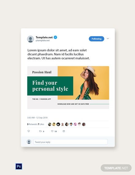 FREE Fashion App Promotion Twitter Post Template - PSD