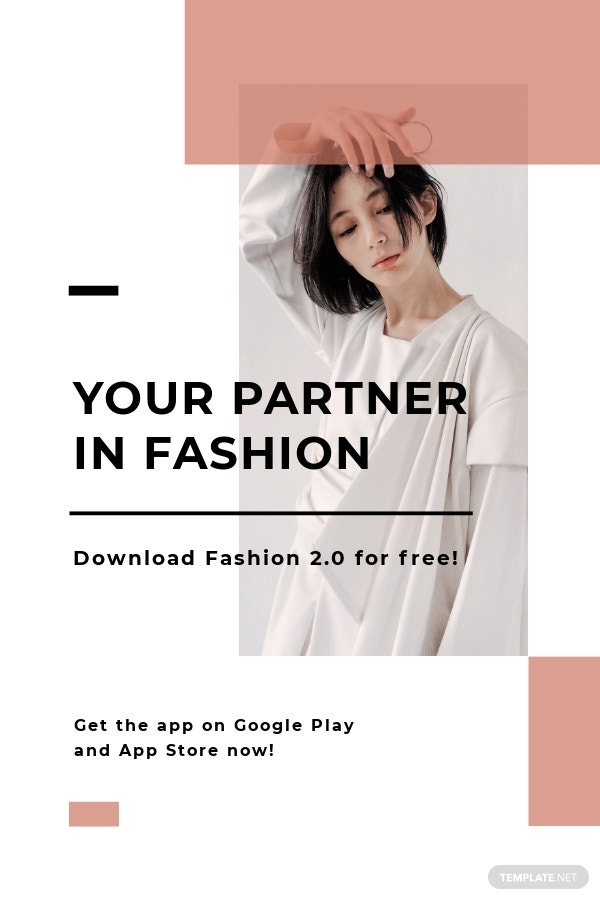 Free Minimalistic Fashion App Promotion Pinterest Pin Template