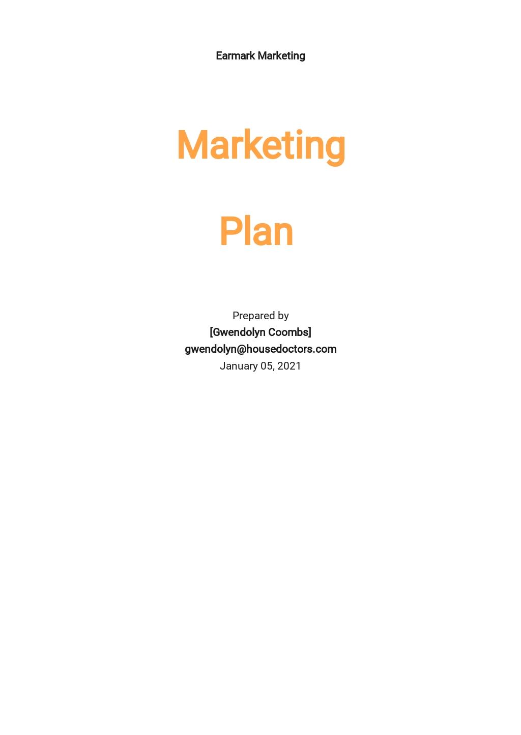 Written Marketing Plan Template