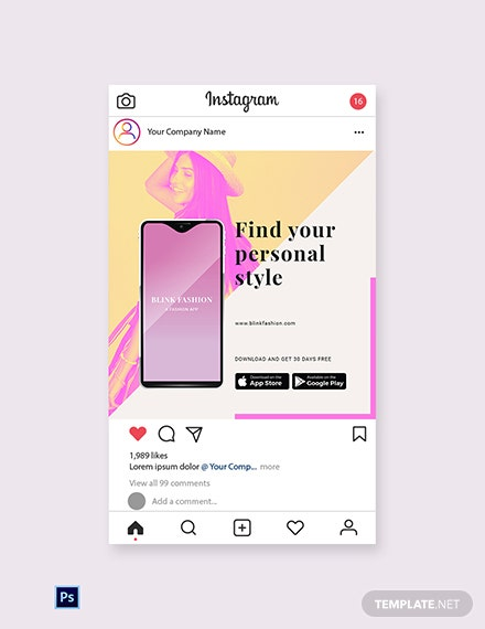 Free Fashion Store App Promotion Instagram Post Template