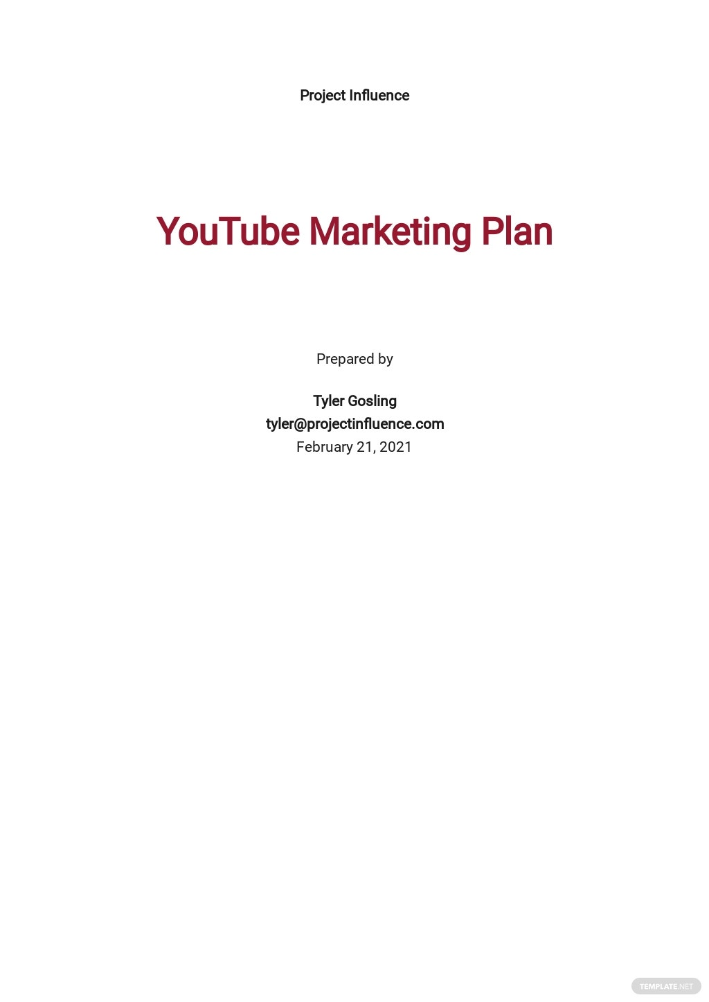 YouTube Marketing Plan Template