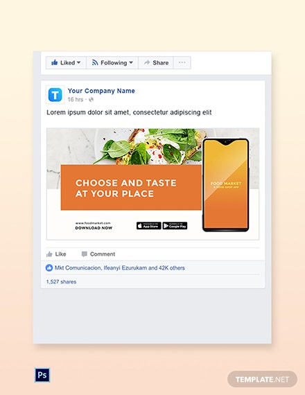 Free Food Mobile App Promotion Facebook Post Template