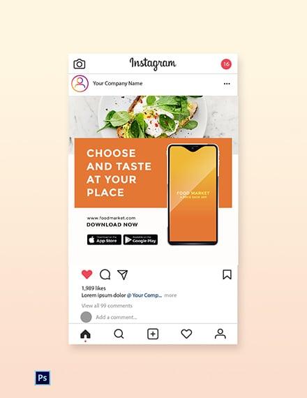 Free Food Mobile App Promotion Instagram Post Template
