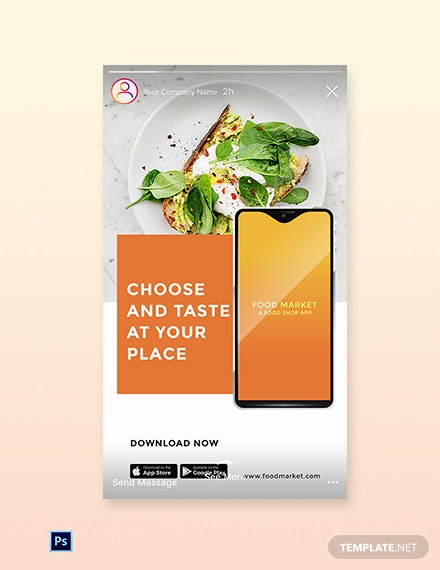 Free Food Mobile App Promotion Instagram Story Template