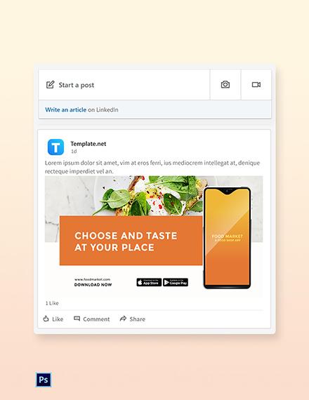Free Food Mobile App Promotion LinkedIn Post Template