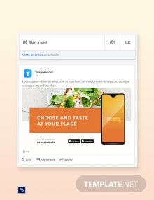 Free Food Mobile App Promotion LinkedIn Post Template