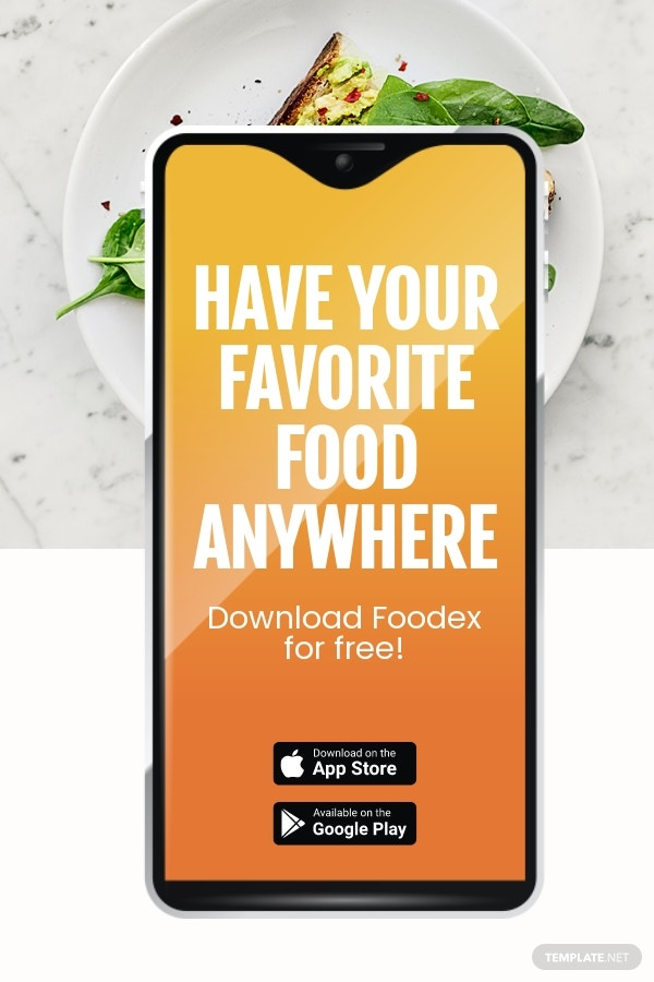Free Food Mobile App Promotion Pinterest Pin Template.jpe