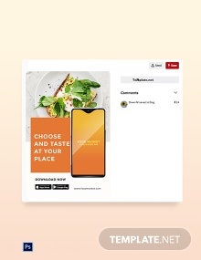 Free Food Mobile App Promotion Pinterest Pin Template