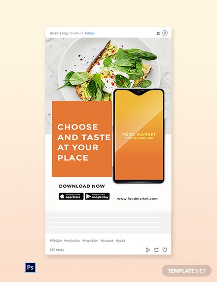 Free Food Mobile App Promotion Tumblr Post Template