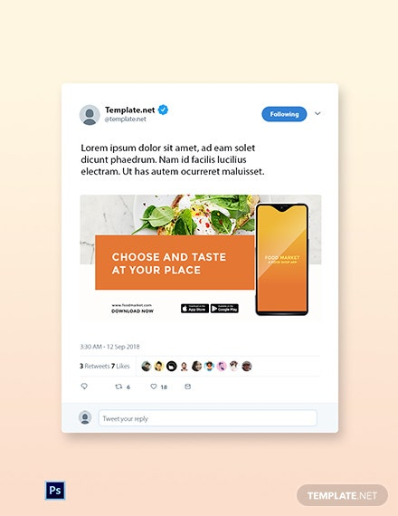 Free Food Mobile App Promotion Twitter Post Template