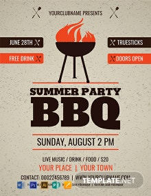 Free Summer Party BBQ Flyer Template