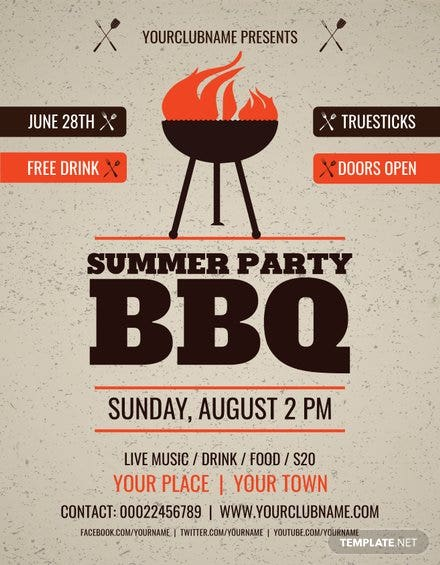 free summer party bbq flyer template in adobe photoshop
