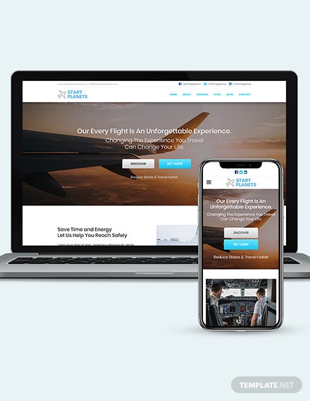 Airlines Aviation Services wordpress landing page theme Download