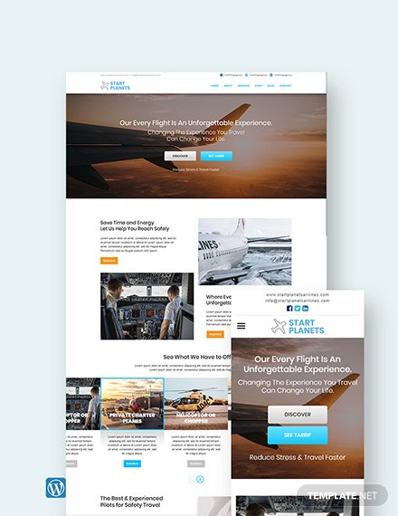 Airlines Aviation Services WordPress Theme/Template