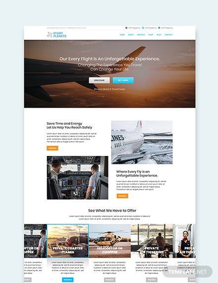 Sample Airlines Aviation Services wordpress landing page theme