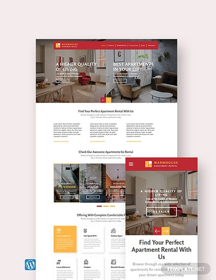 Apartment Rental WordPress Theme/Template