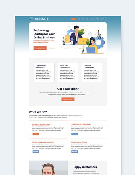 Sample Tech Startup wordpress landing page theme