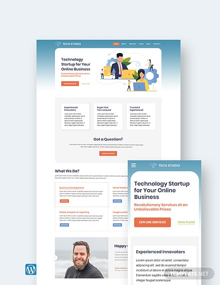 Tech Startup wordpress landing page theme Template