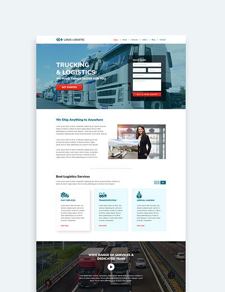 Sample Trucking Logistics Landing theme
