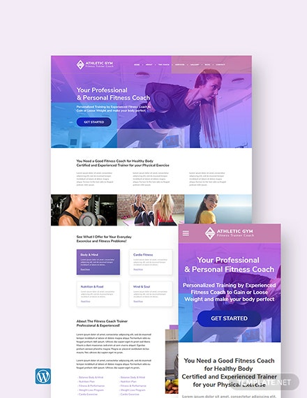 Fitness Trainer Coach WordPress Theme/Template