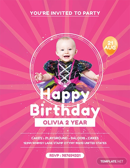 free baby birthday party flyer template 1x