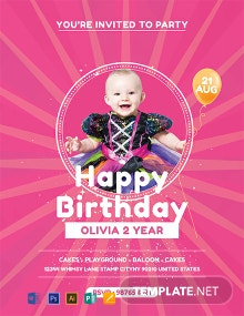 Free Baby Birthday Party Flyer Template