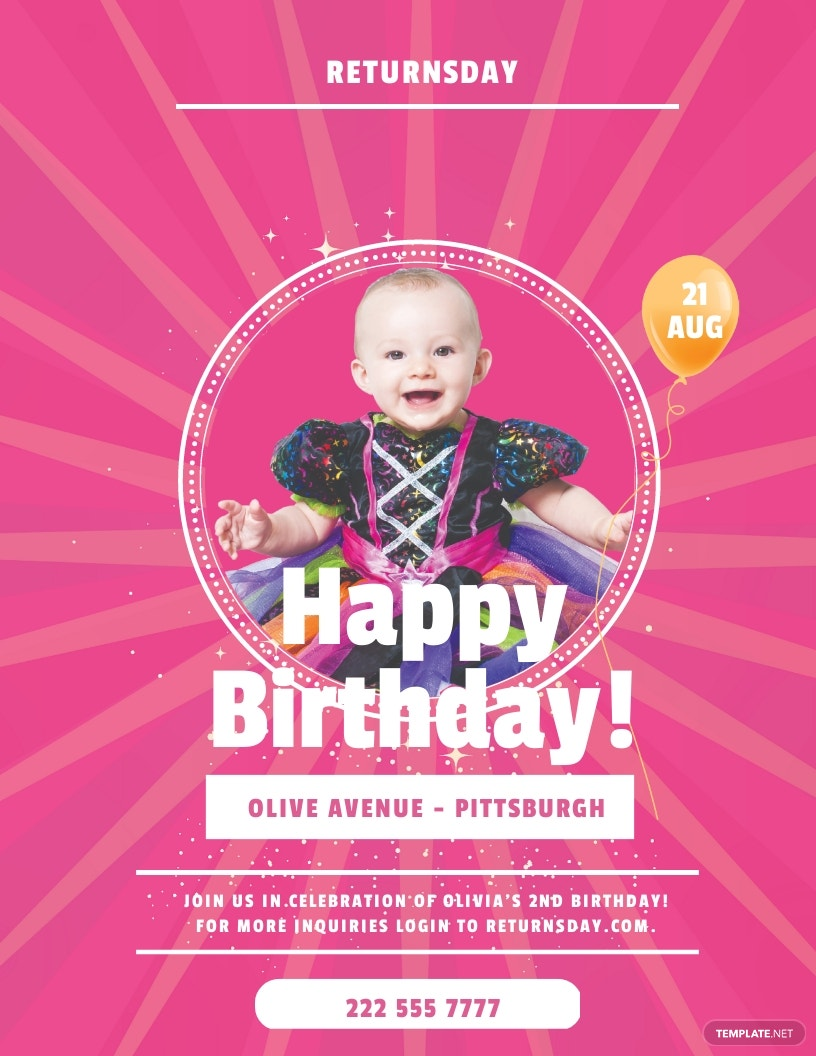 Baby Birthday Party Flyer Template