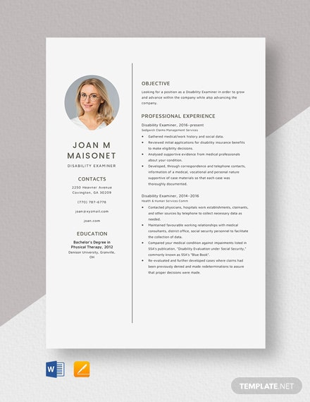 Disability Examiner Resume Template