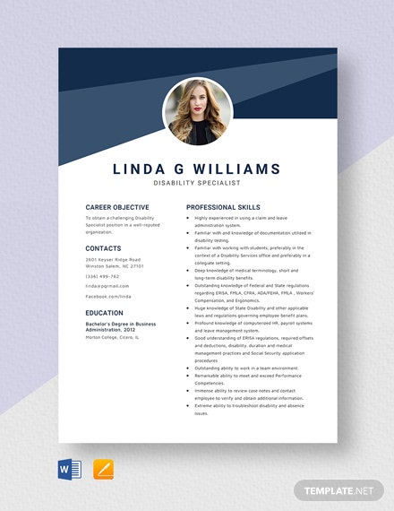 Disability Specialist Resume Template