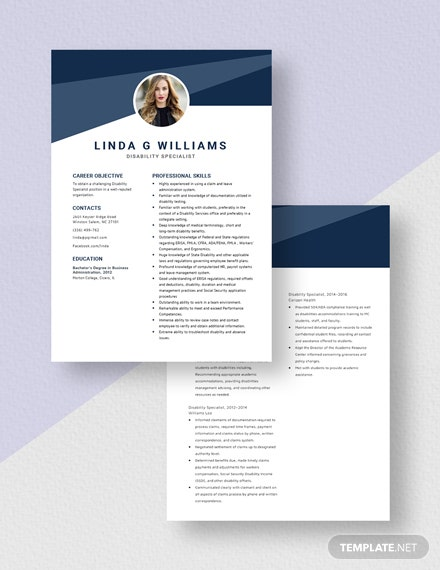 Disability Specialist Resume Download
