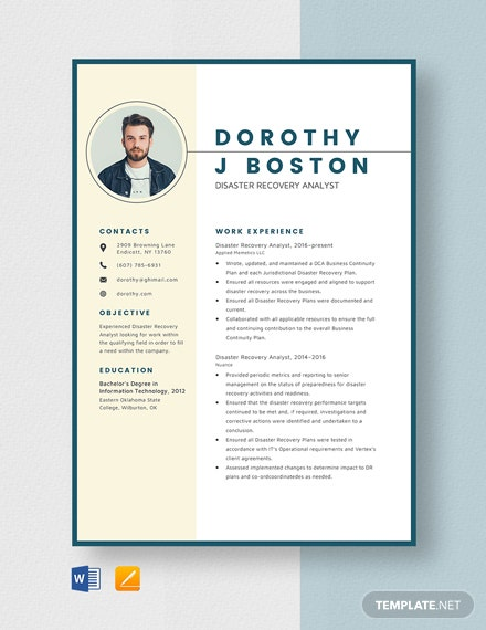 Disaster Recovery Analyst Resume Template