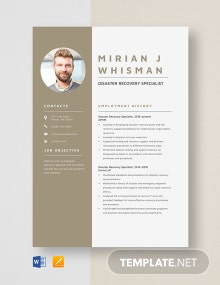 Disaster Recovery Specialist Resume Template