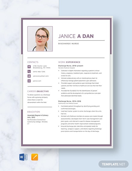 Discharge Nurse Resume Template
