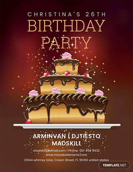 free birthday party flyer template 1x
