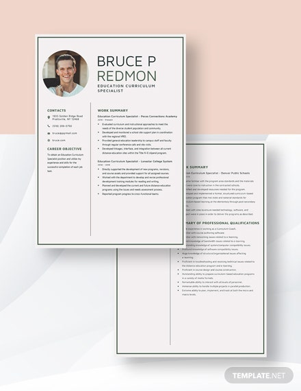 Education Curriculum Specialist Resume Download