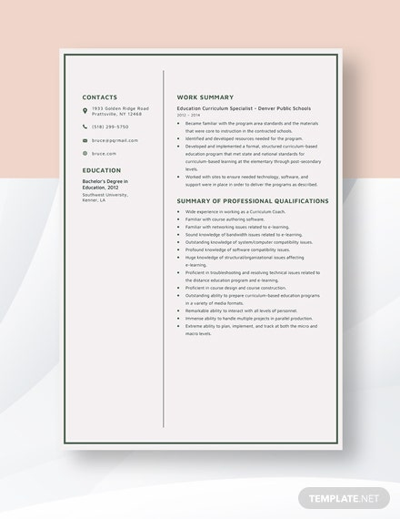 Education Curriculum Specialist Resume Template