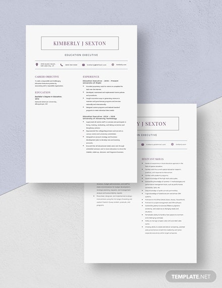 Education Executive Resume Download
