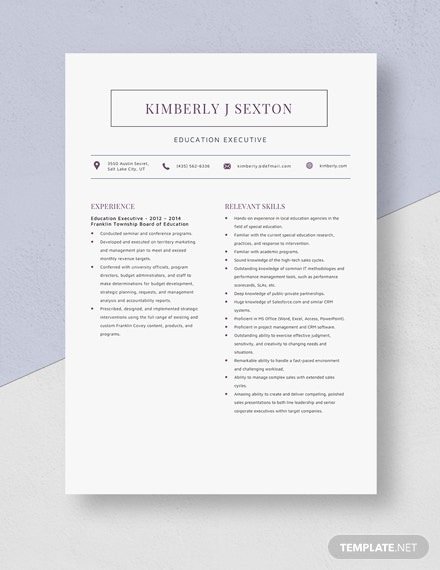 Education Executive Resume Template