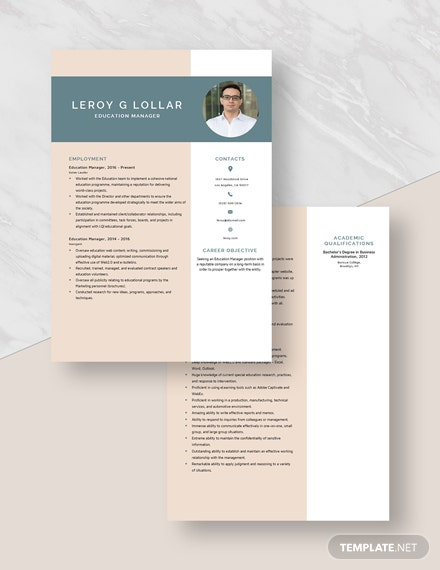 Education Manager Resume Download