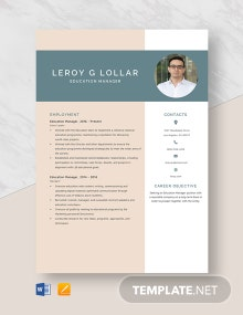 Education Manager Resume Template