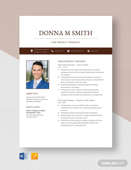 EHR Project Manager Resume Template