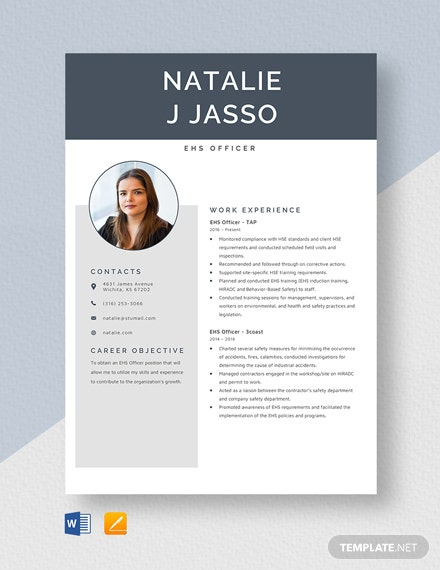 EHS Officer Resume Template